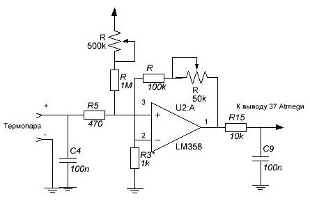 термопар и терморезистора,